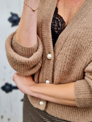 GILET PERLES TAUPE